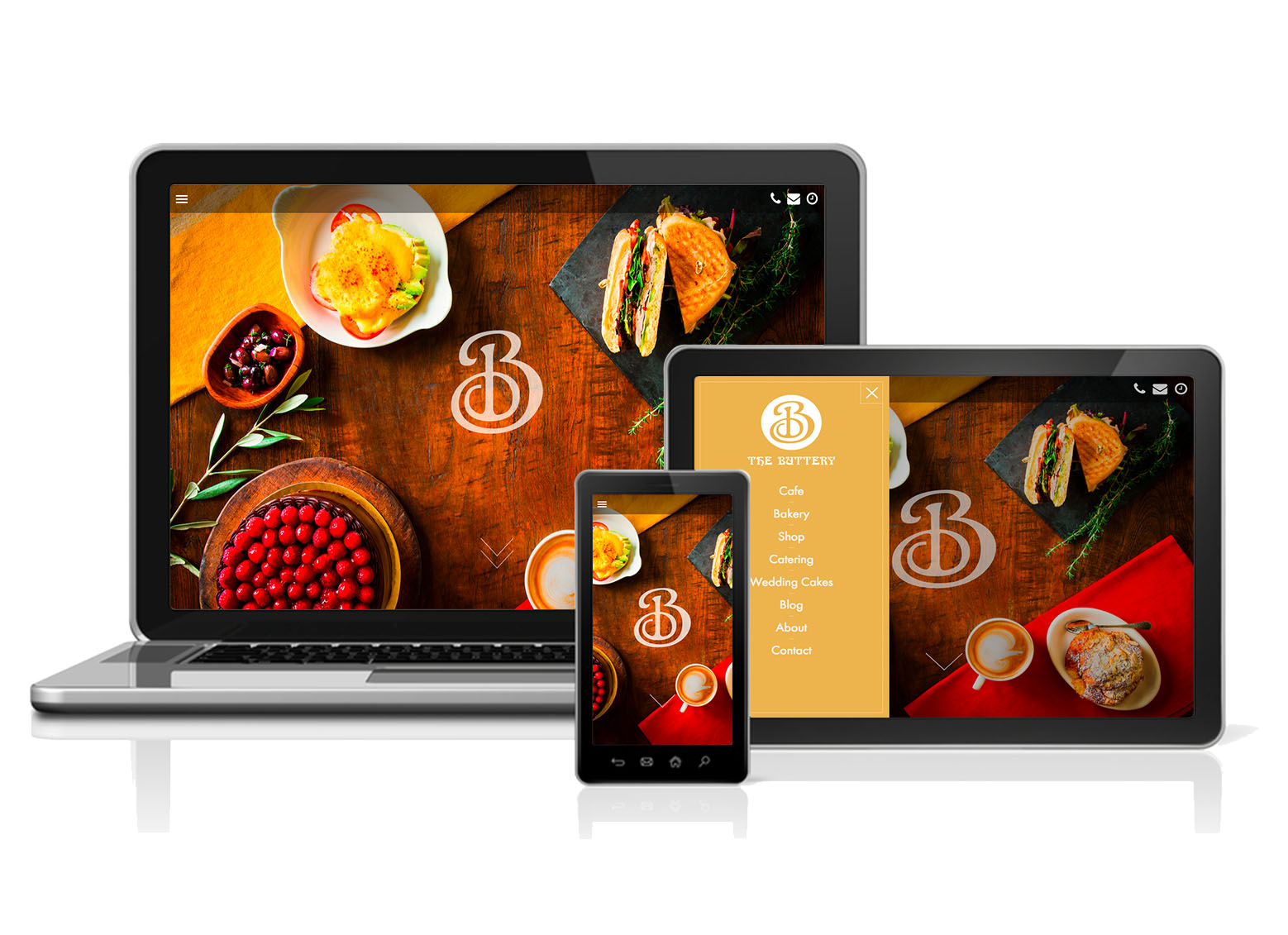 Example responsive web design on desktop, tablet, and mobile